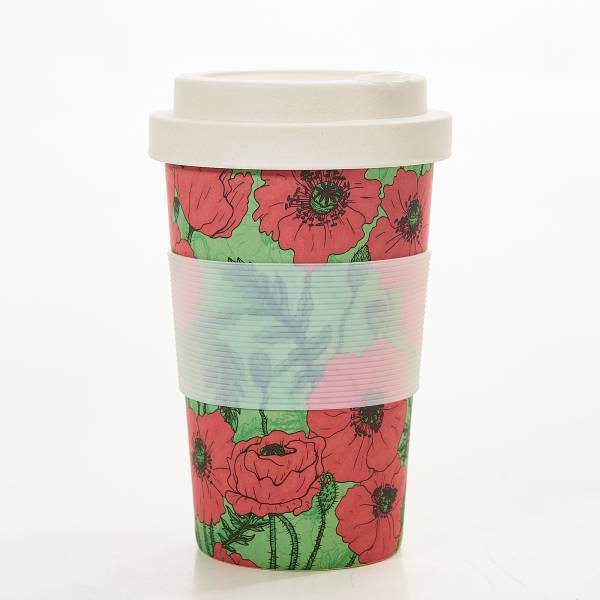 81034 Green Poppies Bamboo Cup Pack of 3