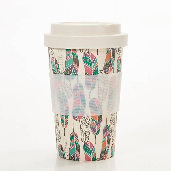 81036 Beige Feather Bamboo Cup Pack of 3