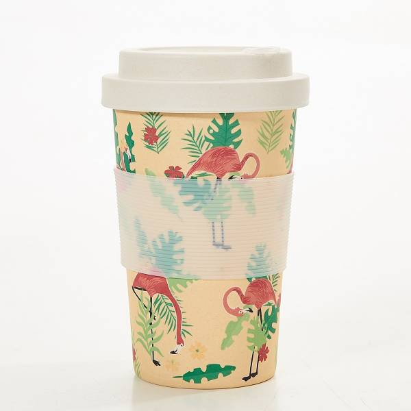 81037 Beige Flamingo Bamboo Cup Pack of 3