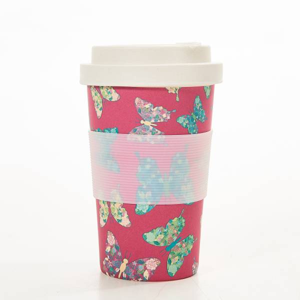 81039 Fuchsia Butterfly Bamboo Cup Pack of 3