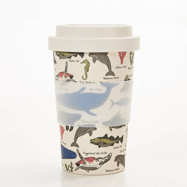 81041 Beige Sea Creatures Bamboo Cup Pack of 3