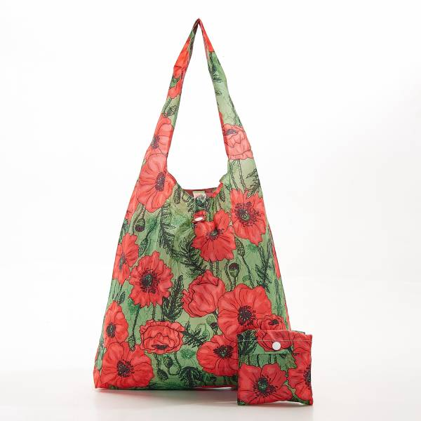 A09 Green Poppies Shopper x2
