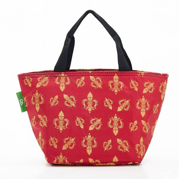 C05 Red Fleur de Lys Lunch Bag x2