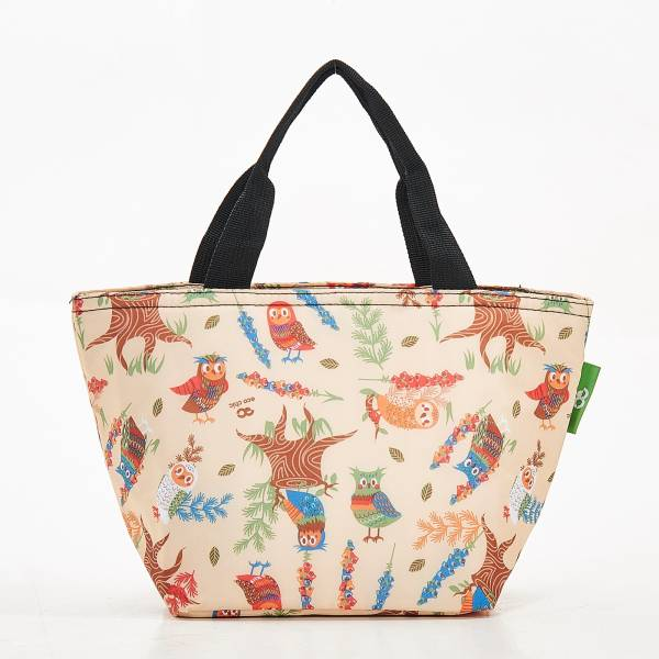 C07 Beige Owl Lunch Bag x2