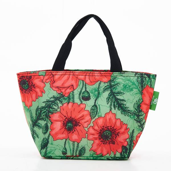 C09 Green Poppies Lunch Bag x2