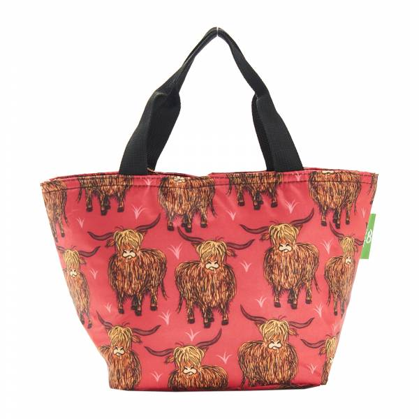 C25 Red Highland Cow Lunch Bag x2