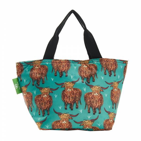 C25 Teal Highland Cow Lunch Bag x2