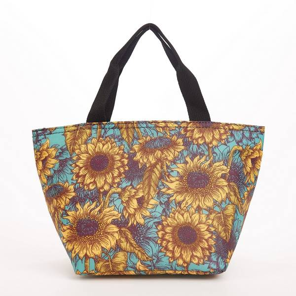 C33 Teal Sunflower Lunch Bag x2