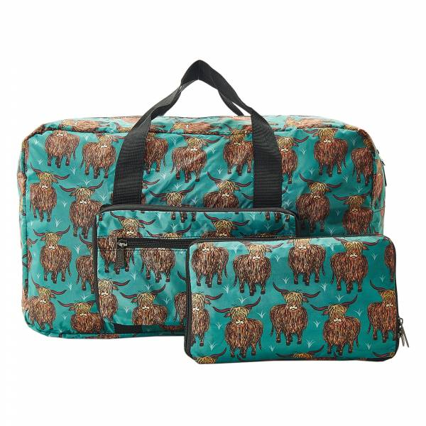 D20 Teal Highland Cow Holdall x2