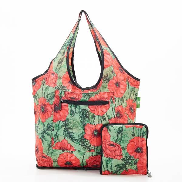 F05 Green Poppies Beach Bag x2