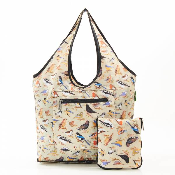 F08 Green Wild Birds Beach Bag x2