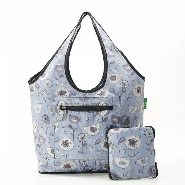 F09 Grey 1950's Flower Weekend Bag x2