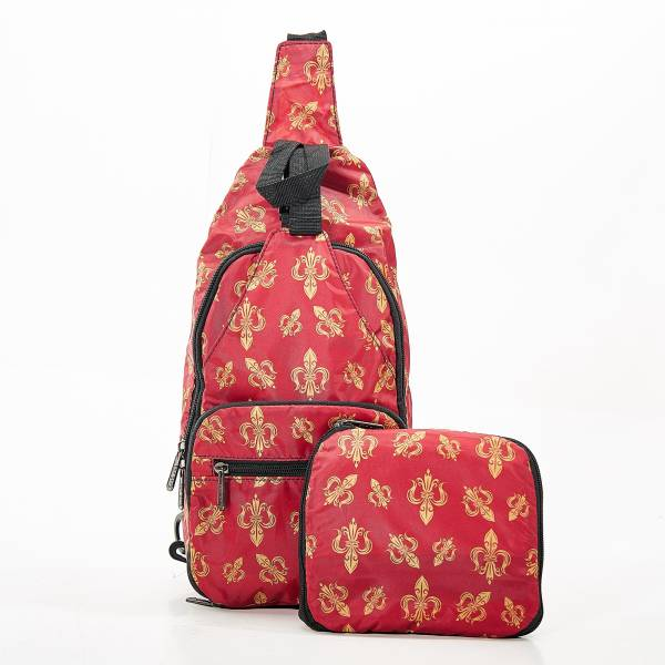 I02 Red Fleur de Lys Cross Body x2