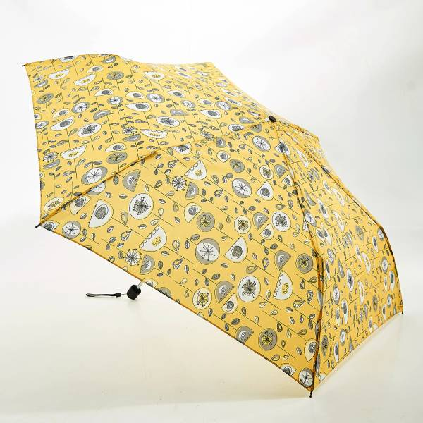 K13 Mustard 1950's Flower Mini Umbrella x2