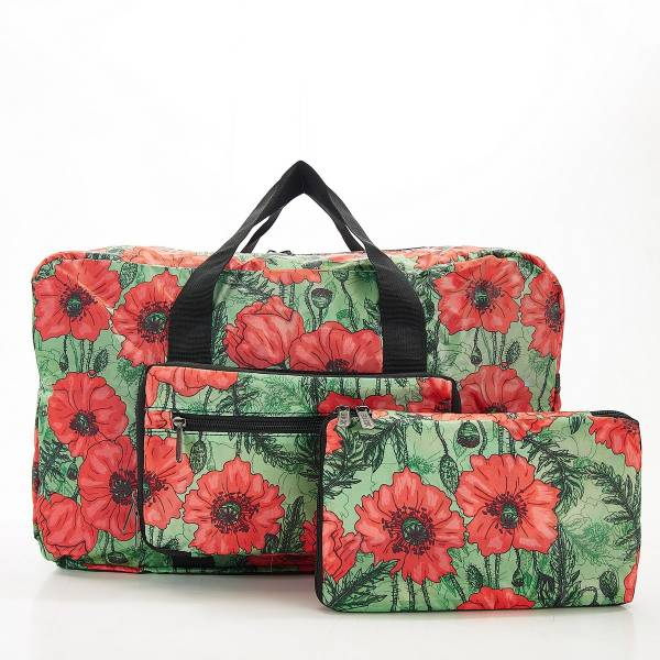 D09 Green Poppies Holdall x2