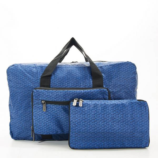 D13 Navy Disrupted Cubes Holdall x2