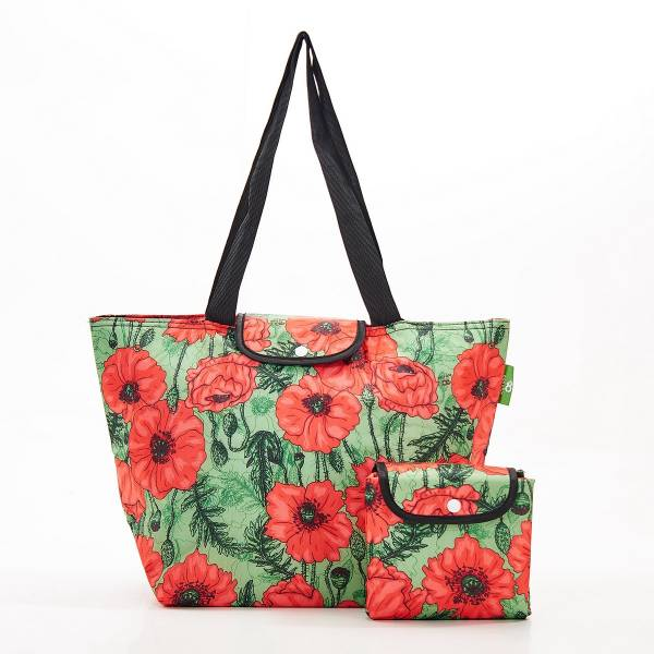 E05 Green Poppies Large Cool Bag x2