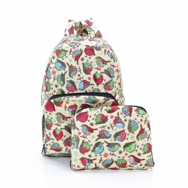 35326 Beige Robin Print Foldaway Backpack
