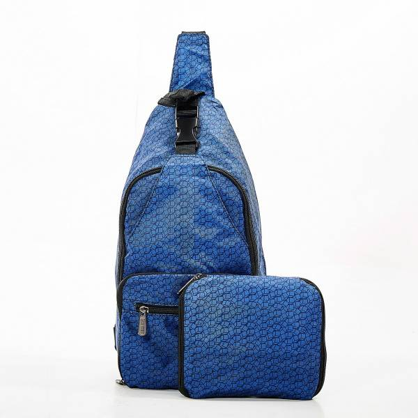 I06 Navy Disrupted Cubes Cross Body x2