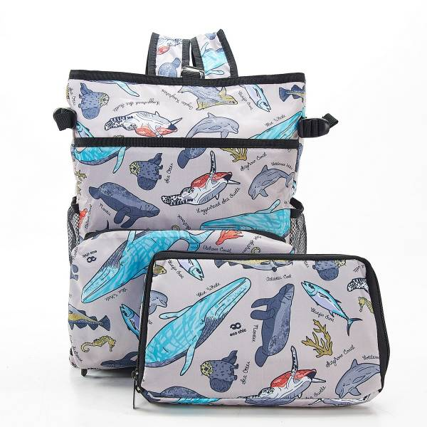 J04 Grey Sea Creatures Cool Backpack