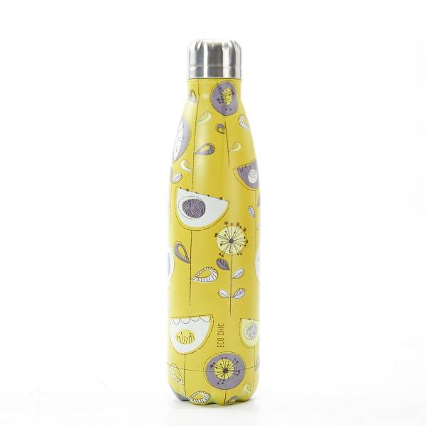 T01 Mustard 1950's Flower Thermal Bottle