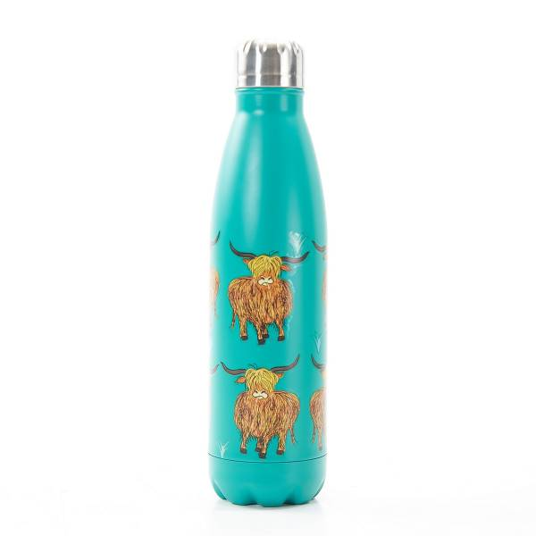 T09 Teal Highland Cow Thermal Bottle