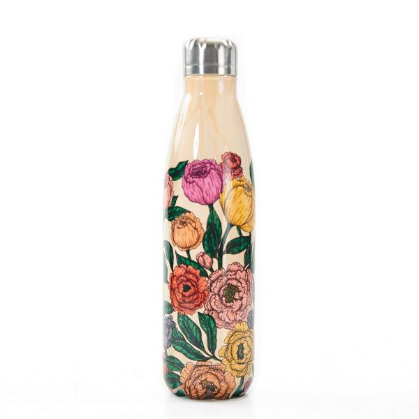 T13 Beige Peonies Thermal Bottle