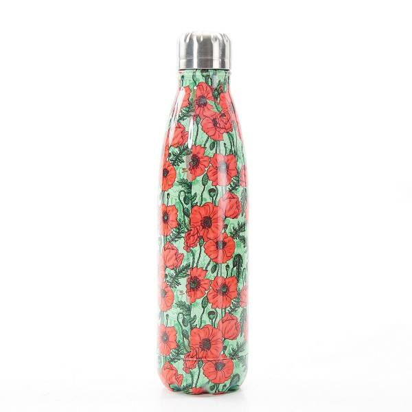 T14 Green Poppies Thermal Bottle